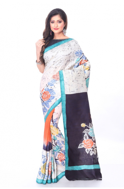 Silk Batik Multi Colour Saree