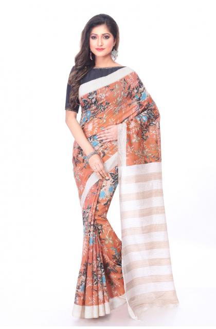 Rust Linen Printed Saree