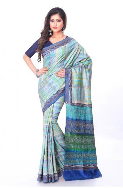 Blue Tussar Kantha Stitch Saree
