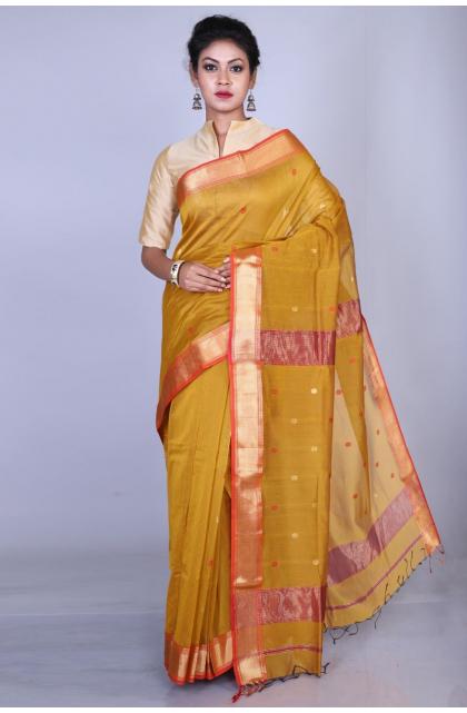 Mustard Maheshwari Silk Solid Saree
