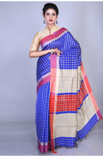 Blue Exclusive Dupion Silk Saree