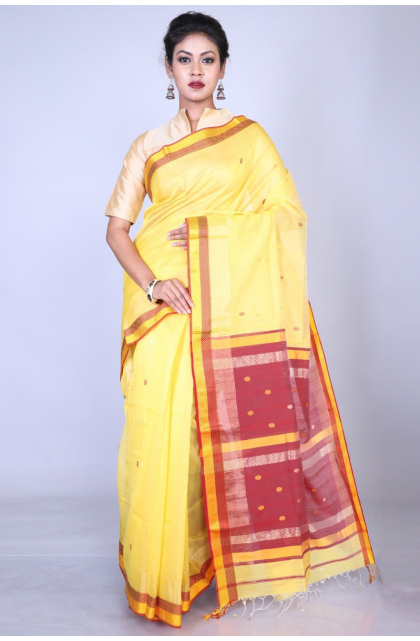 Yellow Maheshwari Silk Saree