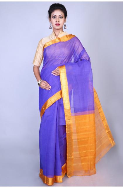 Purple Cotton Gadwal Saree