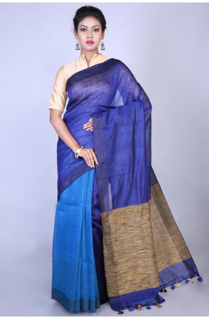 Blue Cotton Linen Blend Saree