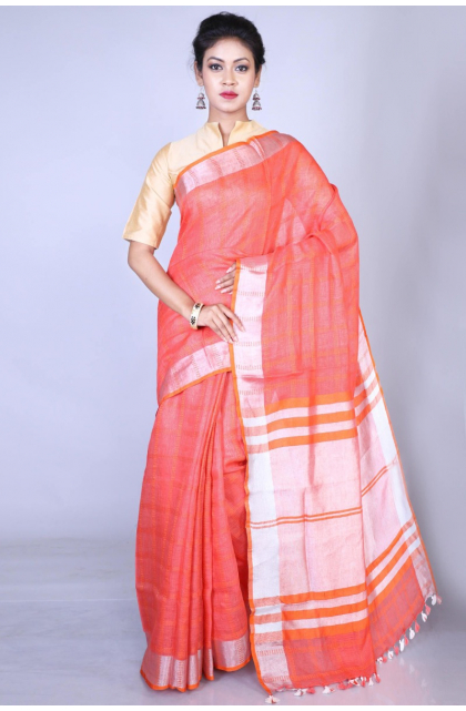 Orange Cotton Linen Blend Saree