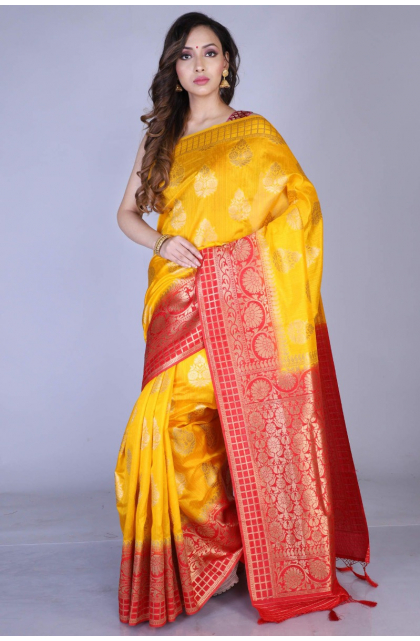 Yellow Exclusive Dupion Silk Saree