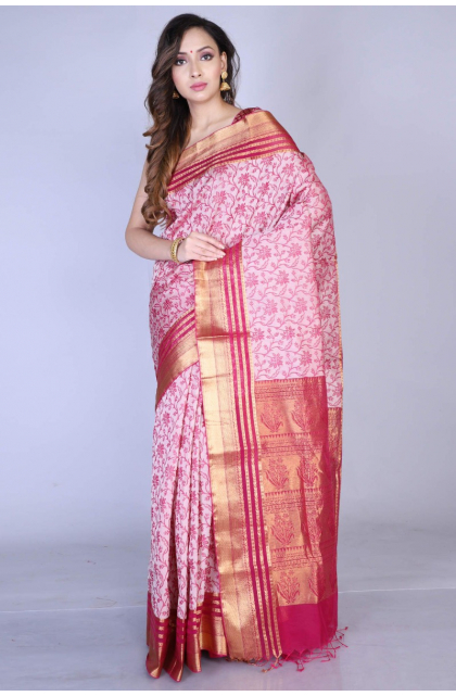 Pink Poly Cotton Saree