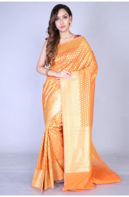 Orange Art Silk Opara Saree