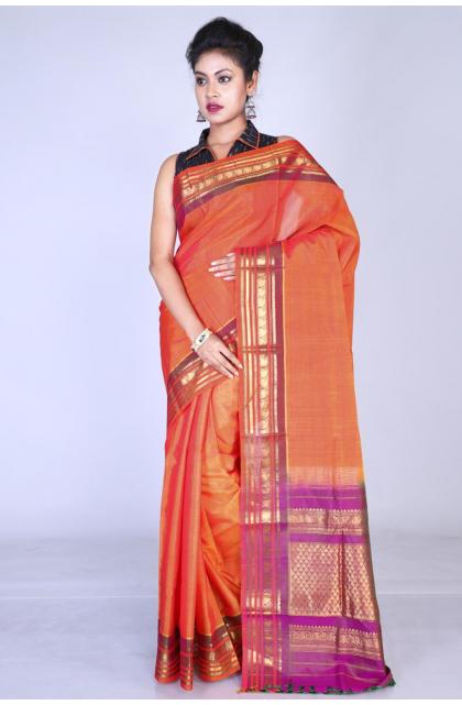 Orange Cotton Silk Gadwal Saree