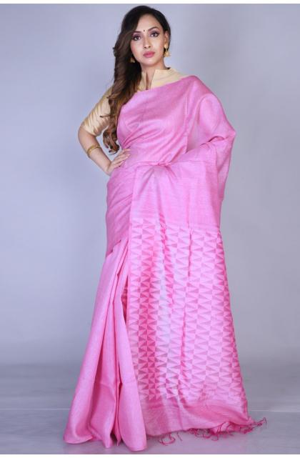 Pink Matka Silk Handloom Saree