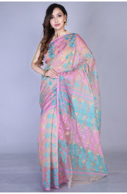 Multicolor Silk Blend Jamdani Saree