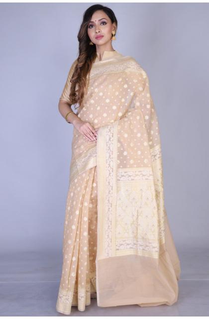 Beige Chanderi  Saree