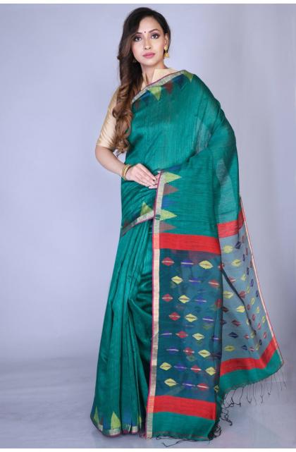Green Matka Silk Handloom Saree