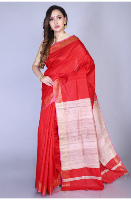Red Bhagalpuri Tussar Handloom Saree