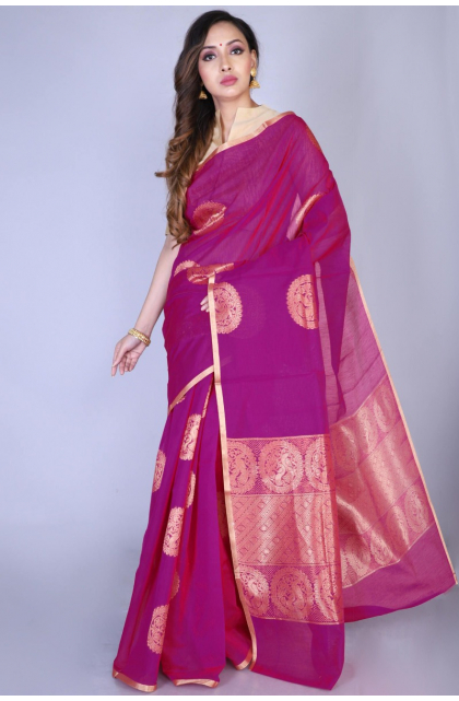 Magenta Cotton Silk Saree