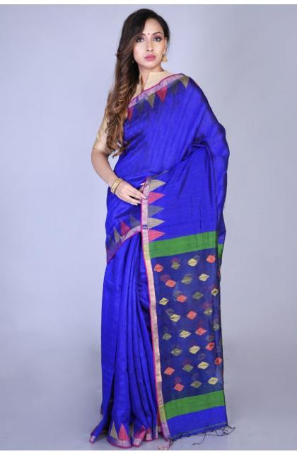 Blue Matka Silk Handloom Saree