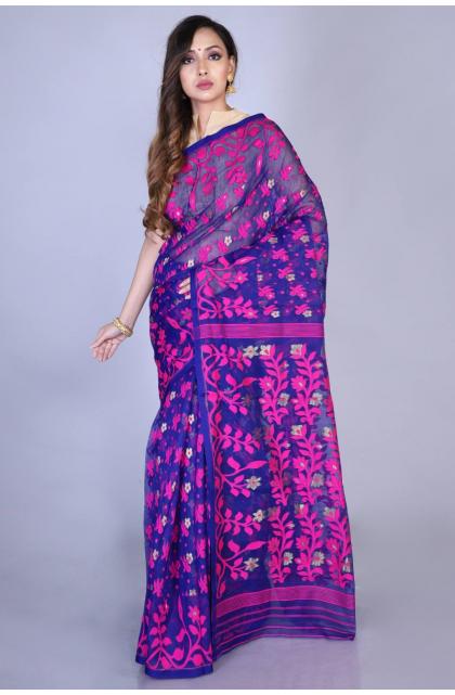 Dark Blue Silk Blend Jamdani Saree