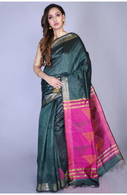 Dark Green Exclusive Dupion Silk Saree