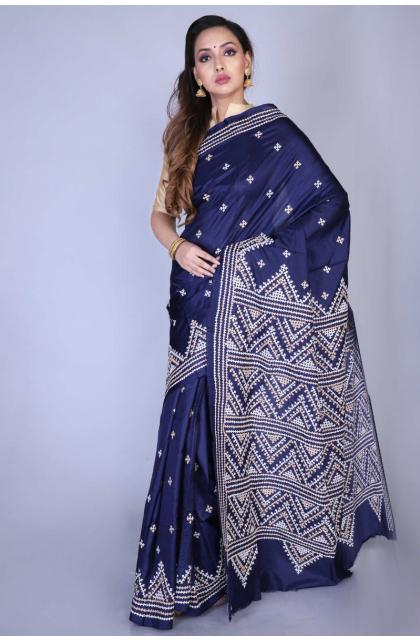 Navy Blue Gujrati Stitch Silk Saree