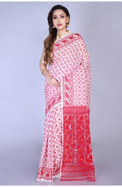 White Cotton Jamdani Saree