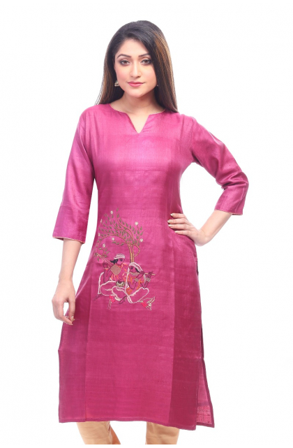 Magenta Tussar Embroidered Exclusive Long Kameez