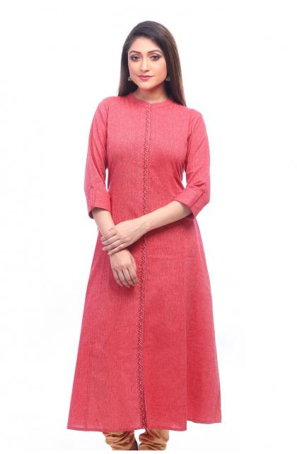 Red Cotton Long Kameez