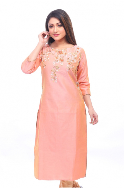 Peach Chanderi Exclusive Long Kameez