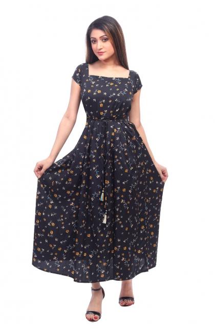 Black Crepe Long Dress