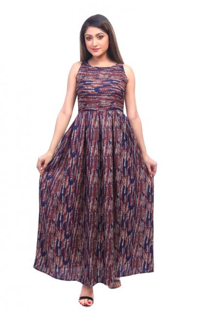 Multi Colour Crepe Long dress