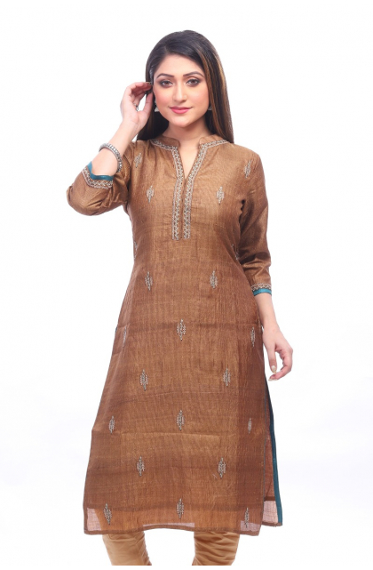 Brown Embroidered Tussar Exclusive Long Kameez