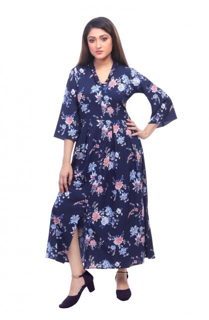 Blue Printed Crepe Long Dress