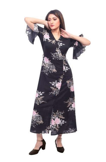 Black Crepe Printed Long Dress