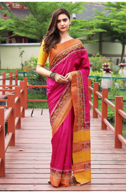 PINK TUSSAR HAND EMBROIDERED SAREE