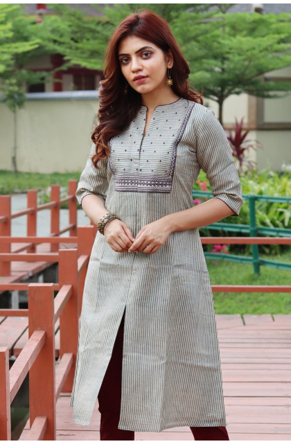 Grey Tussar Embroidered Long Kameez
