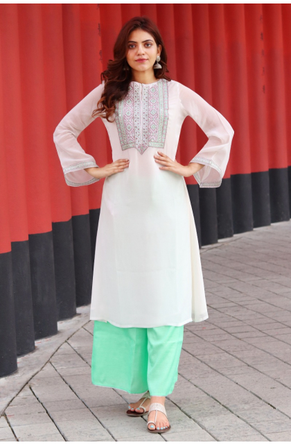 White Embroidered Georgette Exclusive Palazzo Set