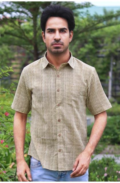 Green Printed Cotton Half Shirt