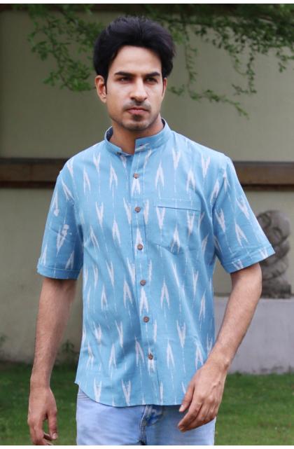 Blue Printed Cotton  Half Shirt