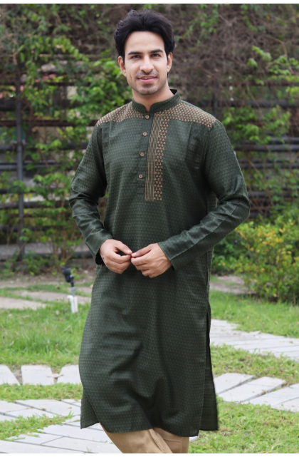 Dark Green Jacquard Embroidered Long Kurta