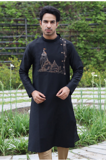 Black Cotton Silk Embroidered Long Kurta