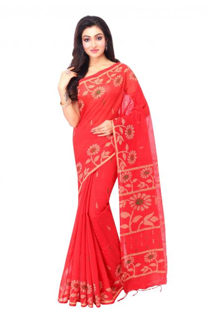 Red cotton Handloom Saree