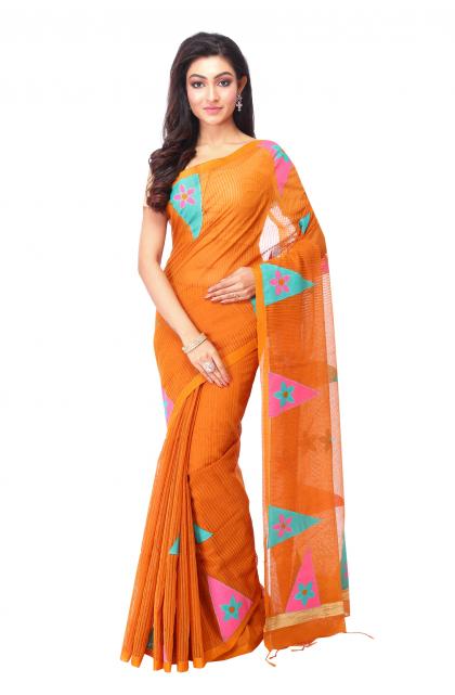 Orange cotton Handloom Saree