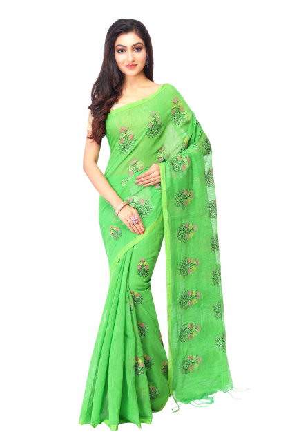Green cotton Handloom Saree