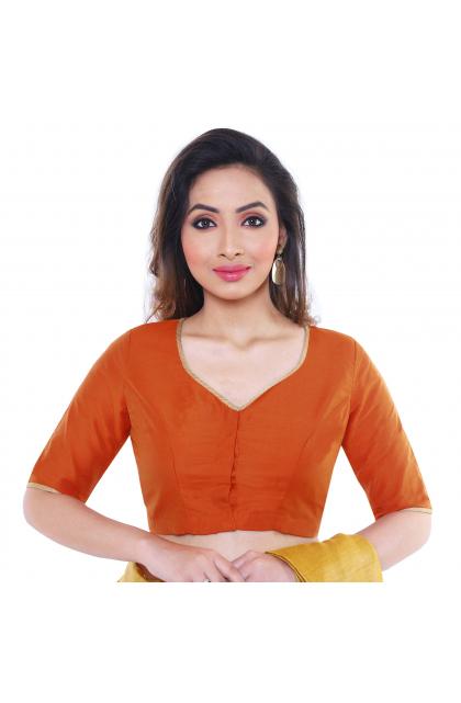 Orange Cotton Tussar Blouse