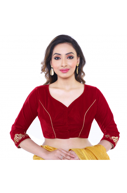 Sweetheart Neck Red Blouse