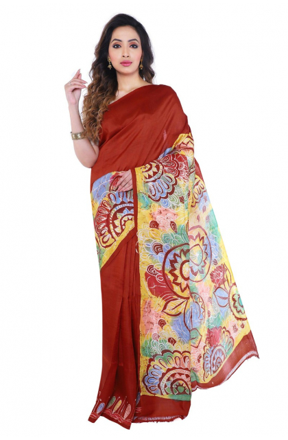 Rust Batik Printed Silk Saree
