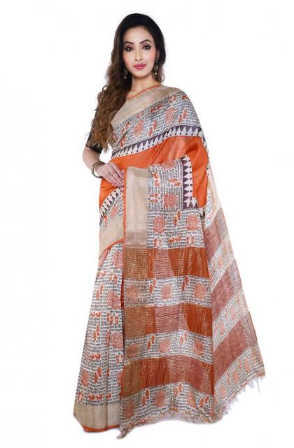 Orange Printed Tussar Saree