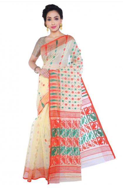 Beige Cotton Jamdani Saree