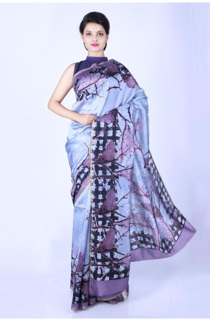 Purple Printed Munga Tussar  Saree