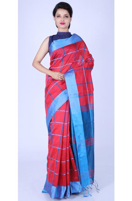 Red Checkered Cotton Blend Saree