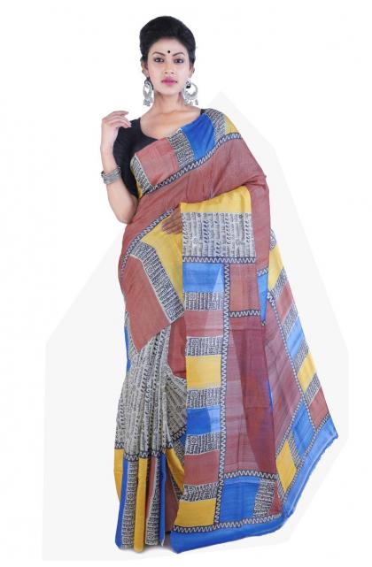 Multicolour Printed Tussar Saree